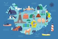 Mapa de Islandia con las señales turísticas y de los símbolos nacionales - faro, oveja, pescador, hombre en la piscina caliente,  libre illustration