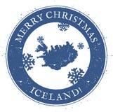 Mapa de Islandia Feliz Navidad Islandia del vintage libre illustration