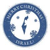 Mapa de Israel Feliz Navidad Israel Stamp del vintage Imagenes de archivo