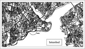 Mapa de Istambul Turquia na cor preto e branco Fotografia de Stock