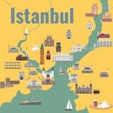 Mapa de Istanul ilustração royalty free