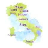 Mapa de Italia fotos de archivo libres de regalías