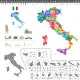 Mapa de Italia coloreado por regiones Fotos de archivo libres de regalías