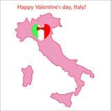 Mapa de Italia con la bandera y el corazón Imagen de archivo