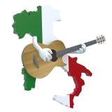 Mapa de Italia con los brazos que tocan la guitarra ilustración del vector
