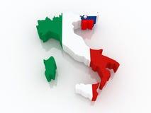 Mapa de Italia y de Eslovenia. stock de ilustración