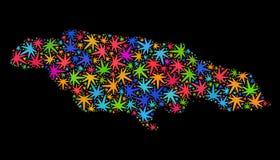 Mapa de Jamaica del mosaico de las hojas coloreadas del cáñamo stock de ilustración