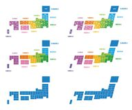 Mapa de Japão, divisão regional com cores Foto de Stock