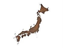 Mapa de Japão no metal oxidado ilustração do vetor