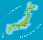 Mapa de Japão Fotografia de Stock Royalty Free