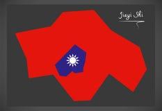 Mapa de Jiayi Shi Taiwan com ilustração taiwanesa da bandeira nacional Fotos de Stock