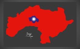 Mapa de Jiayi Taiwan com ilustração taiwanesa da bandeira nacional Foto de Stock Royalty Free
