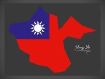 Mapa de Jilong Shi Taiwan com ilustração taiwanesa da bandeira nacional Fotos de Stock