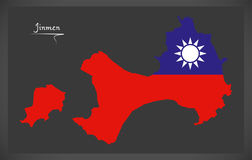 Mapa de Jinmen Taiwan com ilustração taiwanesa da bandeira nacional Imagens de Stock Royalty Free
