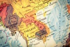 Mapa de Kampuchea, Camboja Imagem do Close-up Imagem de Stock