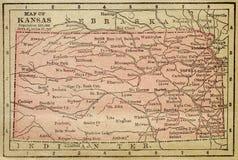 Mapa de Kansas Fotografia de Stock
