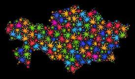Mapa de Kazajistán del mosaico de las hojas multicoloras del cáñamo stock de ilustración