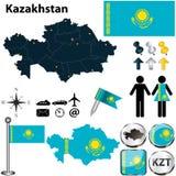Mapa de Kazajistán Imagen de archivo libre de regalías