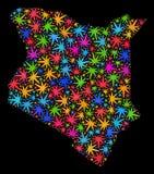 Mapa de Kenia del mosaico de las hojas brillantes del cáñamo ilustración del vector