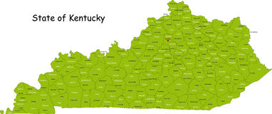 Mapa de Kentucky Foto de Stock Royalty Free
