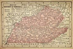 Mapa de Kentucky e de Tennessee Fotos de Stock