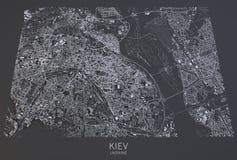 Mapa de Kiev, vista satélite, Ucrânia Fotografia de Stock