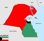Mapa de Kuwait Fotografía de archivo