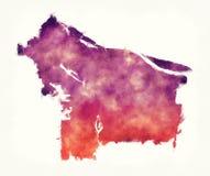 Mapa de la acuarela de la ciudad de Portland Oregon delante de un backgrou blanco libre illustration