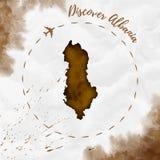 Mapa de la acuarela de Albania en colores de la sepia Imágenes de archivo libres de regalías