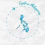 Mapa de la acuarela de Filipinas en colores de la turquesa Foto de archivo