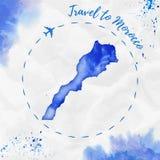 Mapa de la acuarela de Marruecos en colores azules Imágenes de archivo libres de regalías