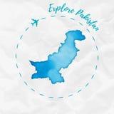 Mapa de la acuarela de Paquistán en colores de la turquesa Foto de archivo libre de regalías