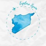 Mapa de la acuarela de Siria en colores de la turquesa Imágenes de archivo libres de regalías