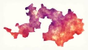 Mapa de la acuarela del cantón del país de Basilea de Suiza delante de un fondo blanco stock de ilustración
