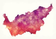 Mapa de la acuarela del cantón de Valais de Suiza delante de un fondo blanco libre illustration
