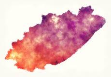 Mapa de la acuarela de la región de Eastern Cape de Suráfrica delante de a ilustración del vector