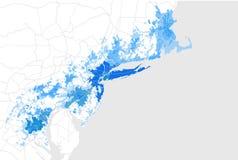 Mapa de la aglomeración Washington, New York City Philadelphia, Boston, Baltimore, los E.E.U.U. Imagenes de archivo