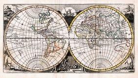 Mapa 1725 de la antigüedad de Afferden del mundo en hemisferios Imágenes de archivo libres de regalías