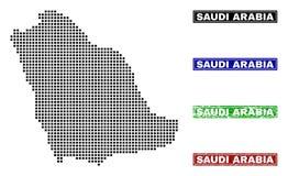 Mapa de la Arabia Saudita en Dot Style con los sellos del subtítulo del Grunge ilustración del vector