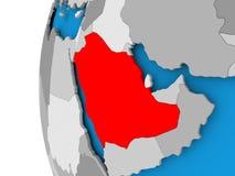 Mapa de la Arabia Saudita en el globo político Ilustración del Vector