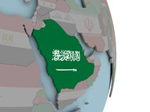 Mapa de la Arabia Saudita en el globo político con la bandera Libre Illustration