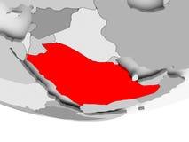 Mapa de la Arabia Saudita en el globo político gris Libre Illustration