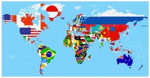 Mapa de la bandera del mundo con un fondo azul ilustración del vector