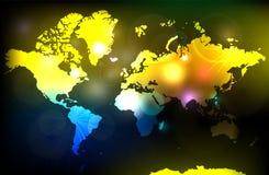 Mapa de la celebración del mundo Atlas global colorido Fuegos artificiales cristo stock de ilustración