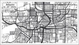 Mapa de la ciudad de Atlanta Georgia los E.E.U.U. en el estilo retro Colo blanco y negro ilustración del vector