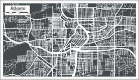 Mapa de la ciudad de Atlanta Georgia los E.E.U.U. en estilo retro Ejemplo blanco y negro del vector libre illustration