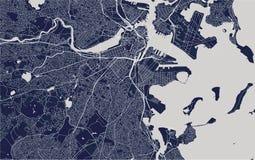 Mapa de la ciudad de Boston, los E.E.U.U. fotos de archivo libres de regalías