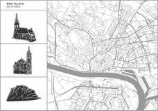 Mapa de la ciudad de Bratislava con los iconos a mano de la arquitectura ilustración del vector