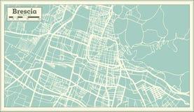 Mapa de la ciudad de Brescia Italia en estilo retro Ejemplo blanco y negro del vector ilustración del vector