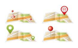 Mapa de la ciudad con los iconos de GPS. libre illustration